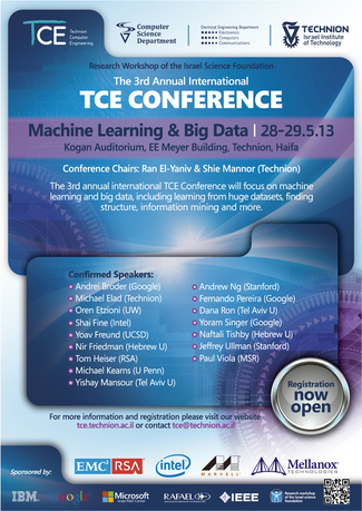 The 3rd Annual International TCE Conference on Machine Learning & Big Data (Note Change of Venue to Technion Churchill Auditorium)
